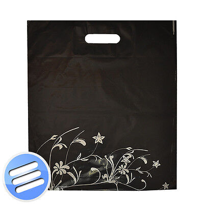 25 x BLACK SILVER FLOWER PUNCH HANDLE PLASTIC CARRIER BAGS- MEDIUM: 15