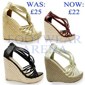 Ladies-Open-Toe-Ankle-Strappy-Straw-Wedge-Platform-Sandals-Size-UK-3-4-5-6-7-8