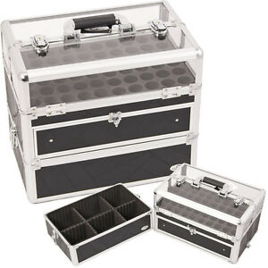Clear-case-Nail-Polishes-organizer-2-in-1-manicure-foundation-C315-tatter-Black