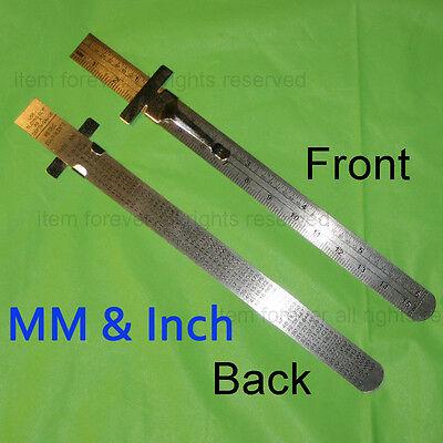 3 Piece Pocket Ruler Steel Read In Metric Mm & English 1/64 - 6 Long