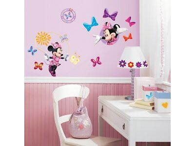 33 New MINNIE MOUSE BOW-TIQUE WALL DECALS Disney Stickers Girls Pink Room Decor