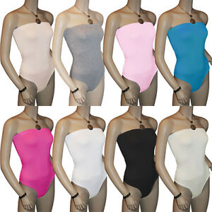 Ladies-Strapless-Bodysuit-Womens-Bandeau-Tops-Sz-8-14