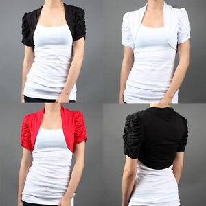 Knit-Bolero-Short-Sleeve-Jacket-Shrug-Puff-Cropped-Open-Cardigan-Shawl-Collar