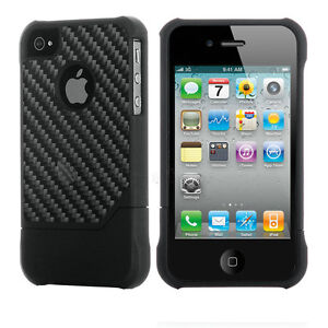Deluxe Genuine Carbon Fiber Combo Case Cover Black For Apple iPhone 4 4S 4G
