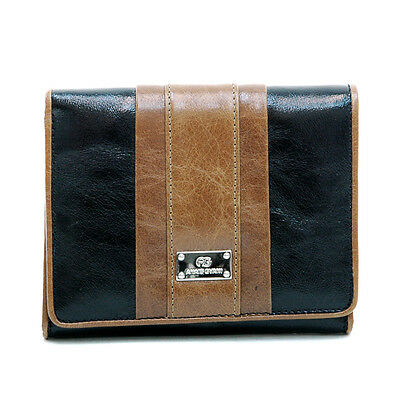 Women's Petite Genuine Leather Tri-fold Wallet - Black/brown