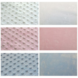 SOFT-MINKEE-MINKY-CHENILLE-FABRIC-RAISED-DIMPLE-EMBO-DOTS-MATCHING-SOLID-BLANKET
