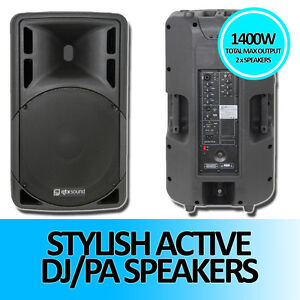 QTX Sound QRC15A Active DJ Disco PA Speakers - 1400w Max Kit - Pair of
