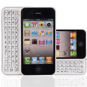 Wireless-Bluetooth-Slide-Keyboard-Case-Spray-Silvery-for-iPhone-4-4S-4G-White