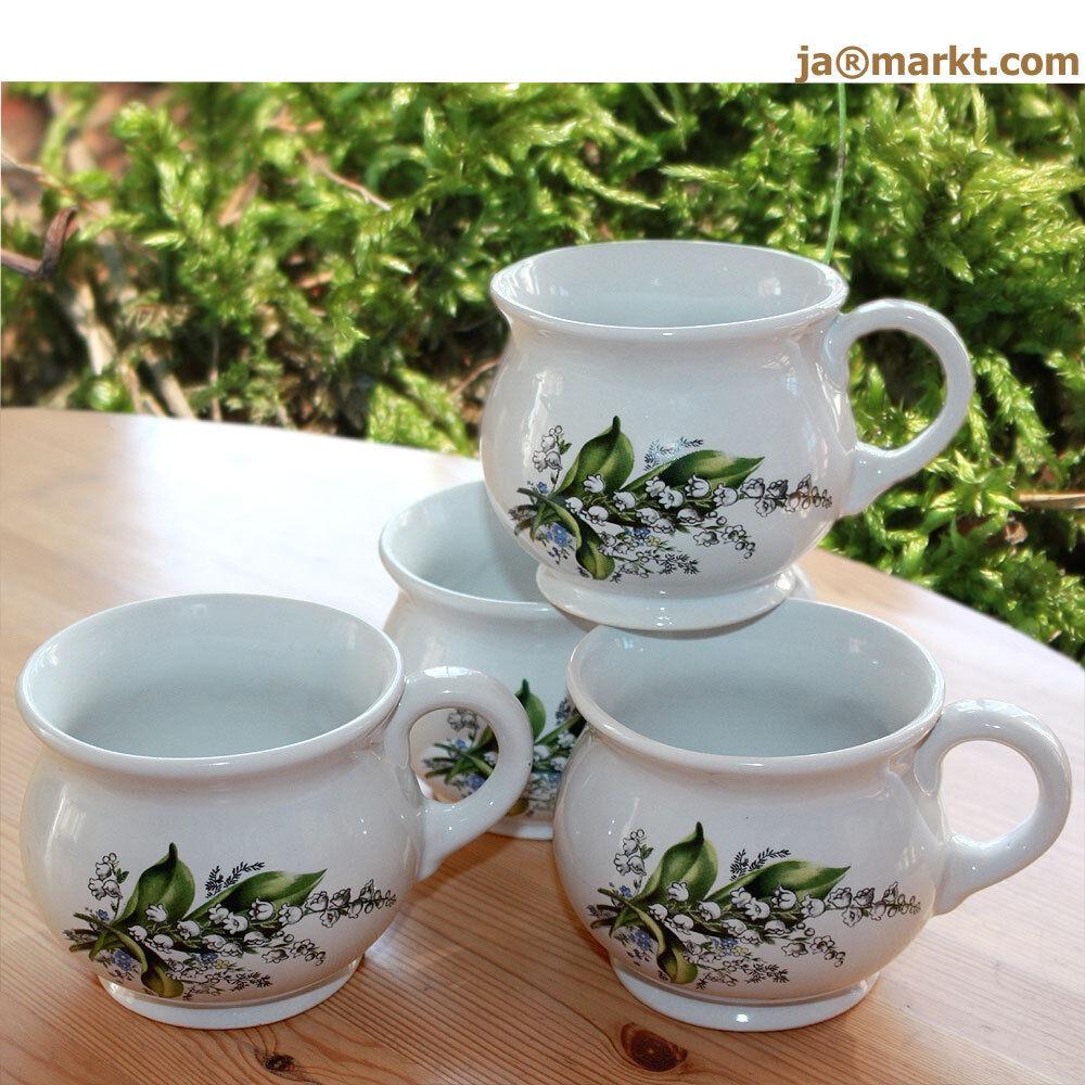 becher 4er set tassen aus keramik tee u kaffeebecher mit maigl ckchen eur 19 90. Black Bedroom Furniture Sets. Home Design Ideas