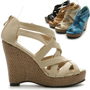 ollio-Womens-Shoes-Wedge-High-Heels-Strap-Sandals-Multi-Colored