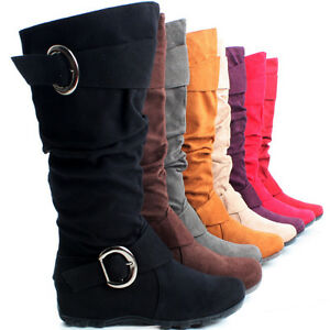 Flat-Slouch-Tall-Buckle-Faux-Suede-Ladies-Cowboy-Western-Womens-Knee-High-Boots
