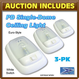 PD-12V-Single-Dome-Ceiling-Light-w-WHITE-SWITCH-RV-Trailer-3-PACK-Brand-New