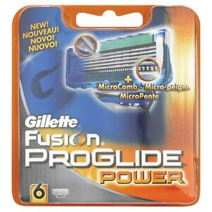 GENUINE GILLETTE FUSION PROGLIDE POWER 6 PACK RAZOR BLADES *NEW* MICROCOMB