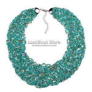 Women Chunky Chain Cluster Turquoise Contrast Beaded Bib Charm Necklace Choker