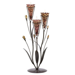 Three Leopard Print Lily Bloom Candle Cups on Jeweled Vine Stand Safari Decor
