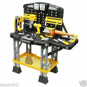 New-Kids-Workman-Heavy-Duty-Workbench-70-Parts-Tools-Power-Drill-Nail-Gun