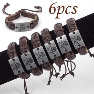 Wholesale-lot-6pcs-Mens-Skull-Hemp-Leather-Bracelet-Gift