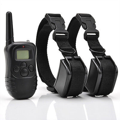 New LCD 100 Levels Shock Vibra Remote Pet Dog Training Bark Collar for 2 Dogs on Rummage