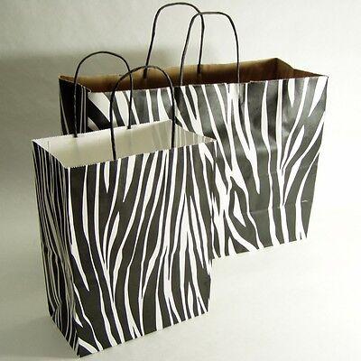 150 Zebra Print Handle Paper Shopping Bag 16x6x12-75pc 8x5x10-75pc
