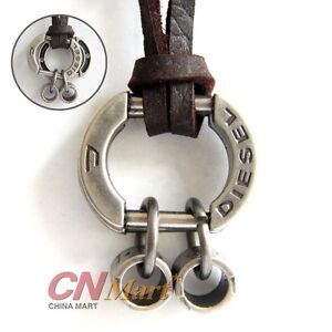 Antique Vintage Silver Mens Genuine Leather Necklace Charm Pendant Choker AA2033