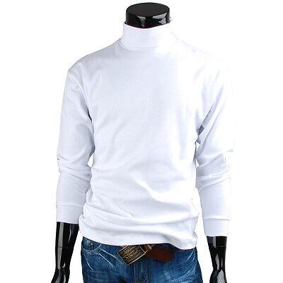 Mens turtleneck solid basic Elastic long sleeve t-shirt (HG_001)_White Size L