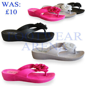New-Ladies-Toe-Post-Flower-Detail-Wedge-Flip-Flop-Sandals-Sizes-UK-3-4-5-6-7-8