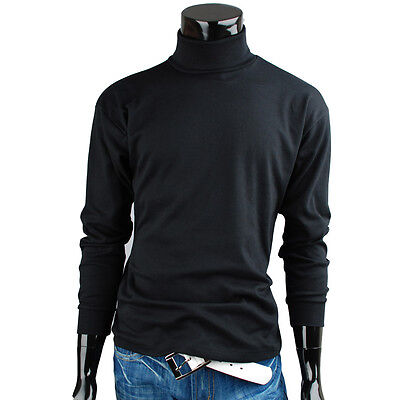 Mens turtleneck solid basic Elastic long sleeve t-shirt (HG_001)_Black Size XL
