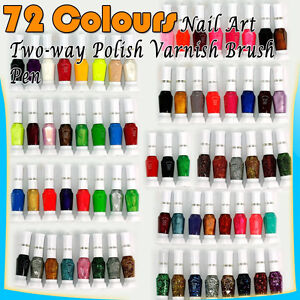 72pcs-Mix-Colors-Pure-Glitter-Nail-Art-Tips-Polish-Varnish-Brush-Pen-Set-C294