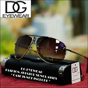 DG-Eyewear-Fashion-Aviator-Sunglasses-Designer-Gold-Brown-Shades-New-Mens-Women