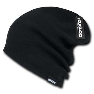 BLACK-Baggy-Knit-Ski-Snowboard-Knitted-Slouch-CAP-Long-Slouchy-HAT-Beanie