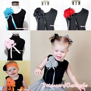 Girl-BLACK-Pettitop-Tank-Top-Shirt-Vest-with-Bunch-Rosette-For-Pettiskirt-NB-10Y