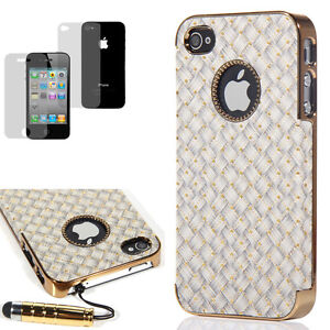 Deluxe Gray Leather Skin Chrome Hard Case Cover For iPhone 4 4S+Pen & Protector