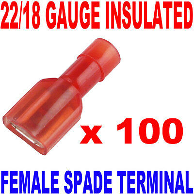 22/18 GAUGE FULLY INSULATED .250 FEMALE SPADE CRIMP CONNECTOR TERMINAL (QTY 100) on Rummage