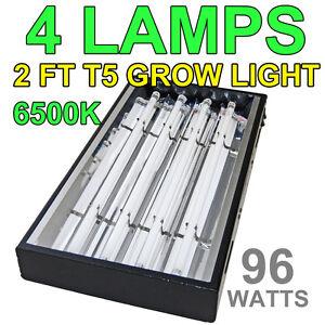 24-2-ft-T5-Grow-Light-Hydroponics-4-Lamps-6500K-Veg-Bulbs-Sun-96W-Black-Used