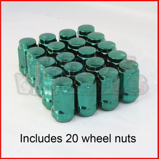 Green Wheel Nuts x 20 12x1.5 fits Ford Focus Mondeo Escort Ka Puma Sierra