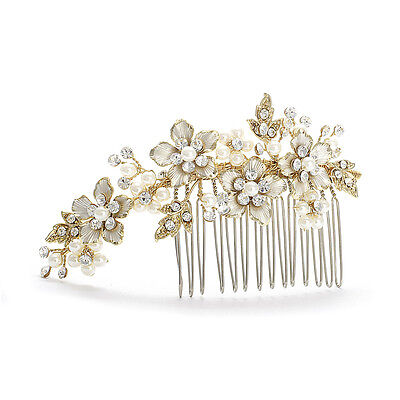 Hair Comb Gold Bridal Pearls Austrian Crystals Mariell H001 Wedding Accessoy