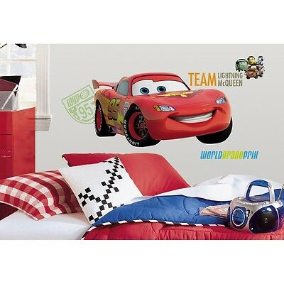 New GIANT LIGHTNING MCQUEEN WALL DECALS Disney Cars 2 Movie Stickers Boys Decor