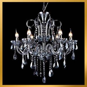 Lights Smoke Color Grey Black Crystal Chandelier Light Pendant Lamp