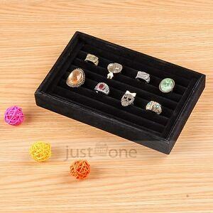 Plastic velvet jewelry ring ear studs display tray storage for Velvet jewelry organizer trays