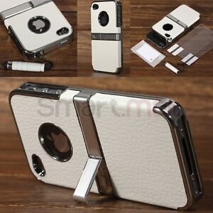 For-iphone-4S-4G-Deluxe-Real-Genuine-Leather-Chrome-Stand-Hard-Case-Cover-White