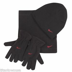 Nike-Fleece-Cold-Weather-3-Piece-Set-Hat-Scarf-Gloves-Black-NWT
