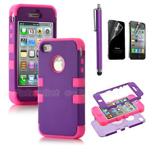 Stylus-For-iPhone-4-4S-Hybrid-High-Impact-Case-Cover-Purple-Pink-Silicone