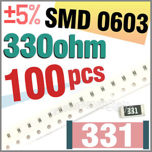 100-x-SMD-SMT-0603-Chip-Resistors-Surface-Mount-330R-330ohm-331-5-1-10W-RoHs