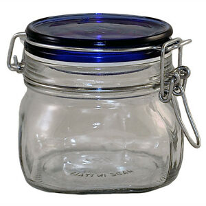 new small wire bale air tight glass jar with cobalt blue. Black Bedroom Furniture Sets. Home Design Ideas