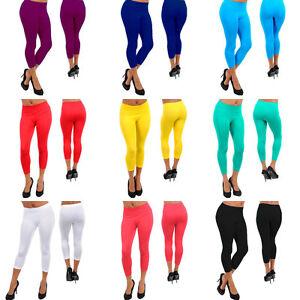 Choose-a-color-1Pair-Seamless-Stretch-Capri-Leggings-One-Size-S-M-L