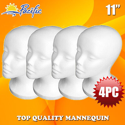 "4PCS 11""STYROFOAM FOAM MANNEQUIN MANIKIN head wig display hat glasses"