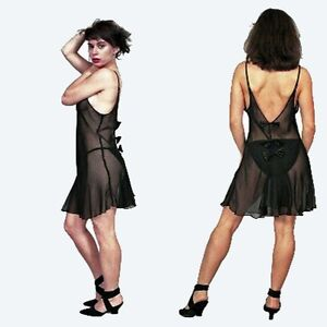 Plus-Size-Lingerie-Size-4X-5X-or-6X-Black-Sheer-Babydoll-with-Back-Bows-5515XX