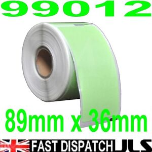 2-Rolls-99012-Dymo-Seiko-Compatible-260-GREEN-Thermal-labels-per-roll-36-x-89mm