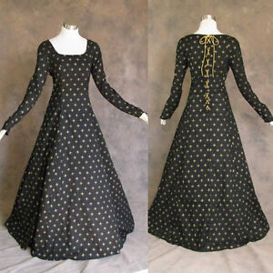 Medieval-Renaissance-Gown-Black-Gold-Dress-Costume-LOTR-Wedding-Large