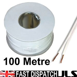 100M REEL WHITE Speaker Cable Wire Car Home Stereo Speakers
